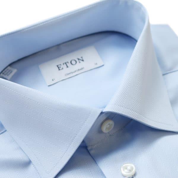 Eton shirt herringbone light blue collar