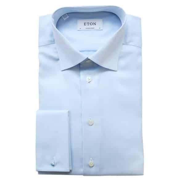 Eton shirt herringbone light blue french cuff