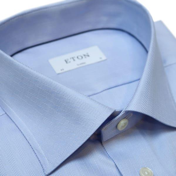Eton shirt herringbone twill classic fit blue collar