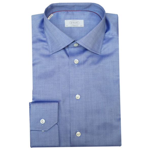 Eton shirt herringbone twill dark blue