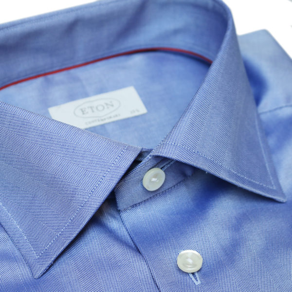 Eton shirt herringbone twill dark blue collar