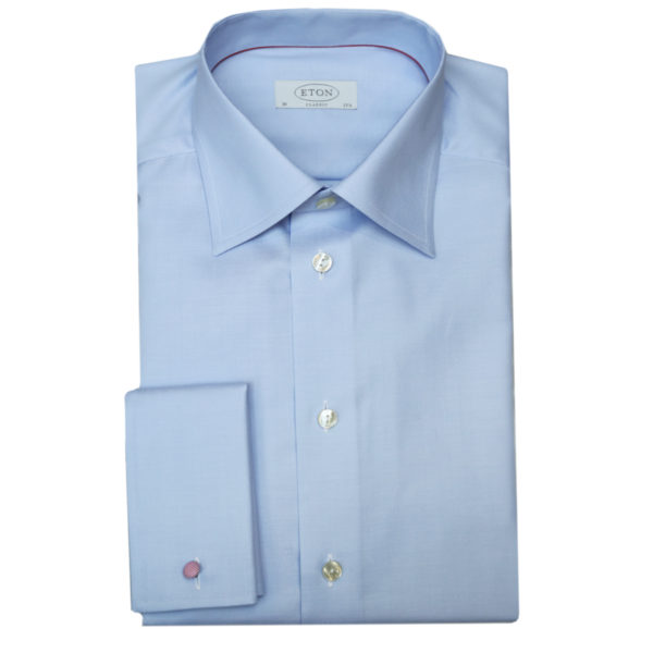 Eton shirt herringbone twill light blue