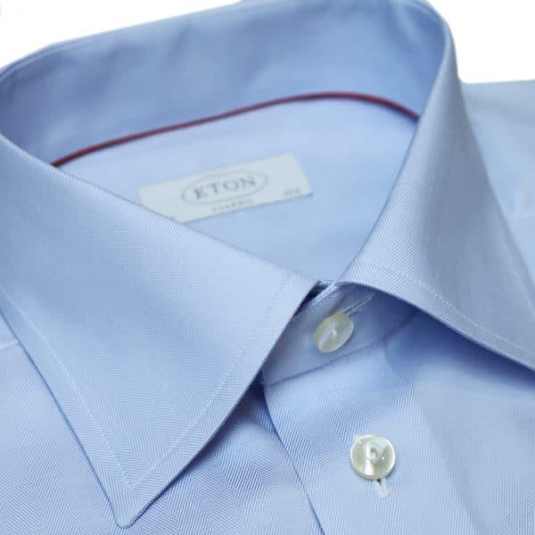 Eton shirt herringbone twill light blue collar
