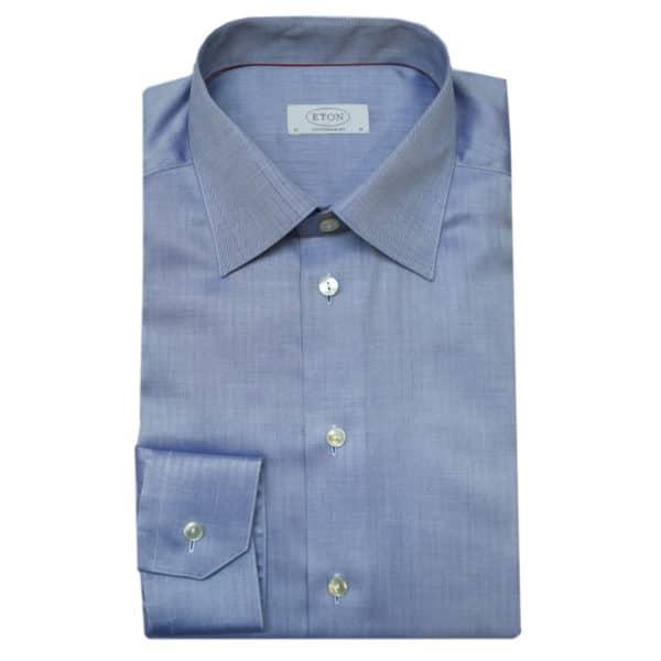 Eton shirt herringbone twill navy 1