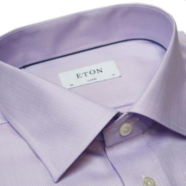 Eton shirt herringbone twill purple collar