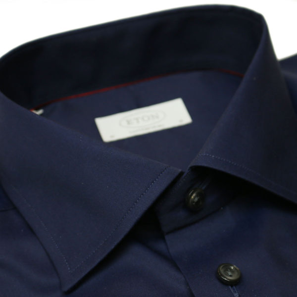 Eton shirt signature twill navy collar