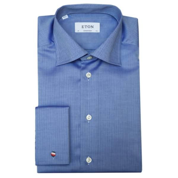 Eton shirt small herringbone twill navy