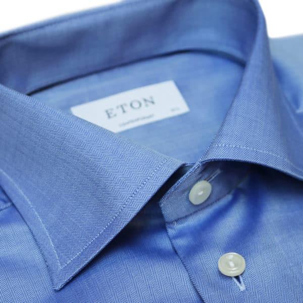 Eton shirt small herringbone twill navy collar