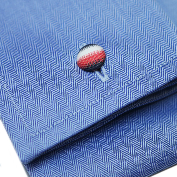 Eton shirt small herringbone twill navy fabric