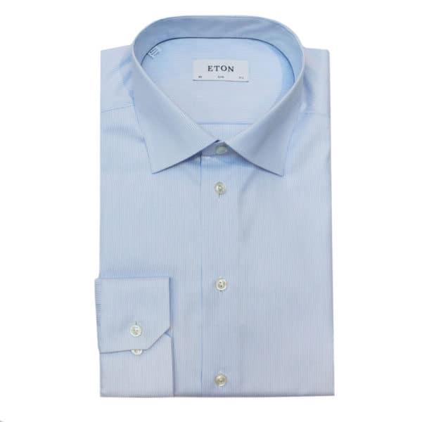 Eton shirt structrued blue stripe pattern
