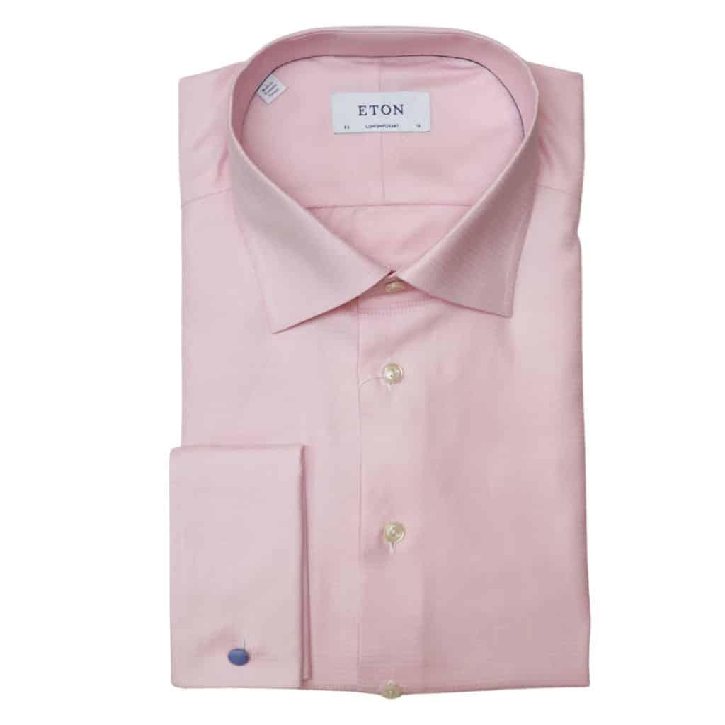 Eton shirt textured check pink