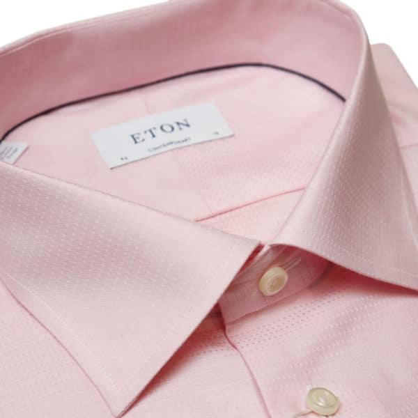 Eton shirt textured check pink collar