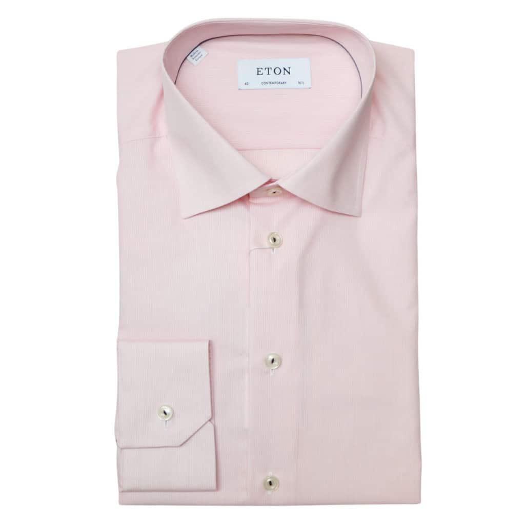 Eton shirt textured stripe pink