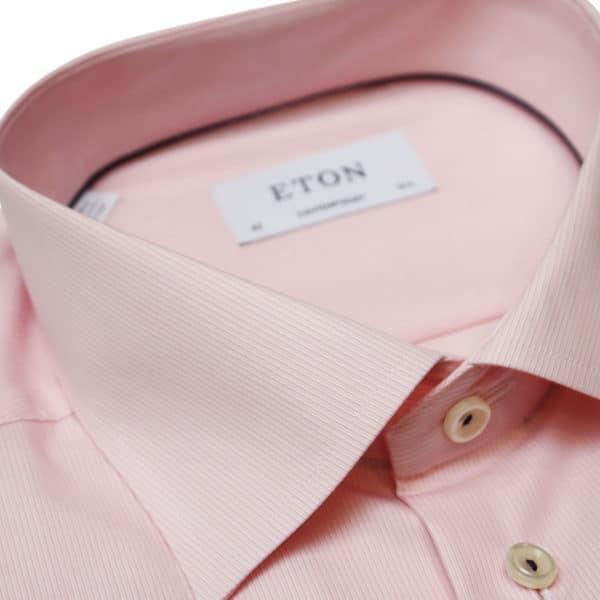 Eton shirt textured stripe pink collar
