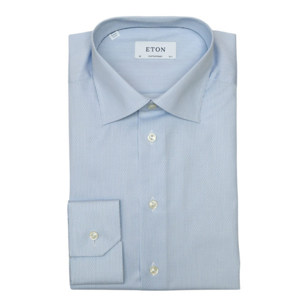 Eton shirt textured striped twill light blue