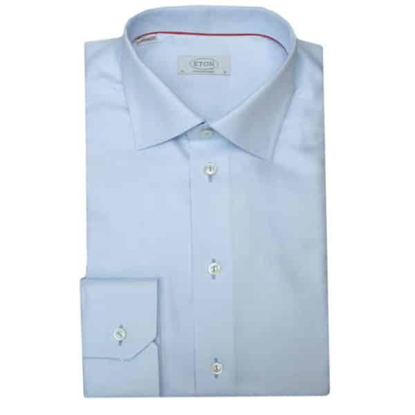 Eton shirt textured twill blue light buttons