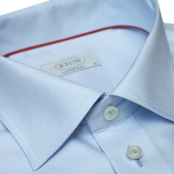 Eton shirt textured twill collar blue light buttons