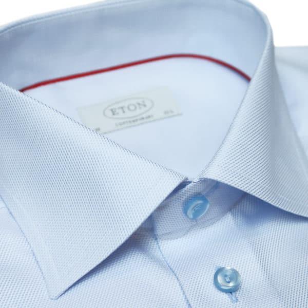 Eton shirt textured twill collar light blue