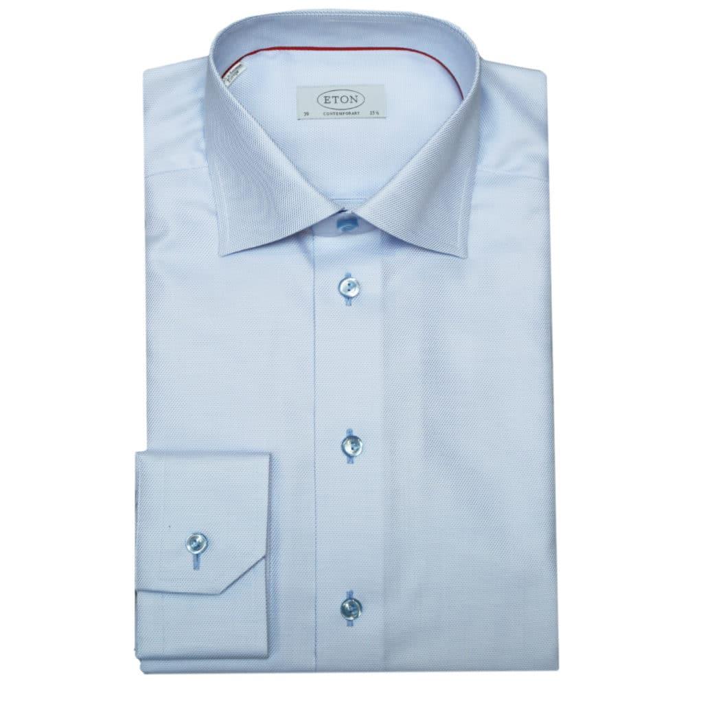 Eton shirt textured twill contemporary light blue