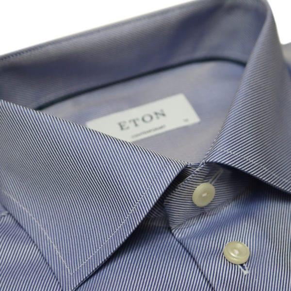 Eton shirt textured twill navy collar