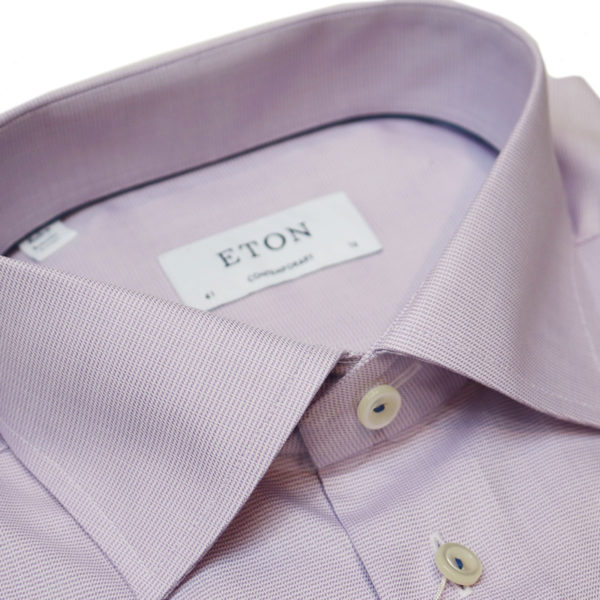 Eton shirt textured twill purple collar 2