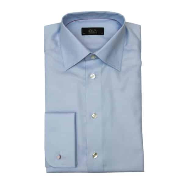 Eton shirt twill french cuff blue