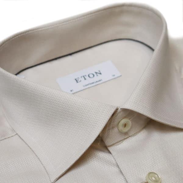 Eton shirt waffle twill beige