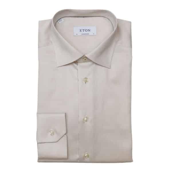 Eton shirt waffle twill beige1