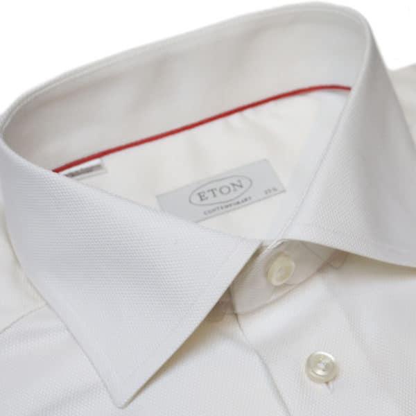 Eton shirt waffle twill off white 1