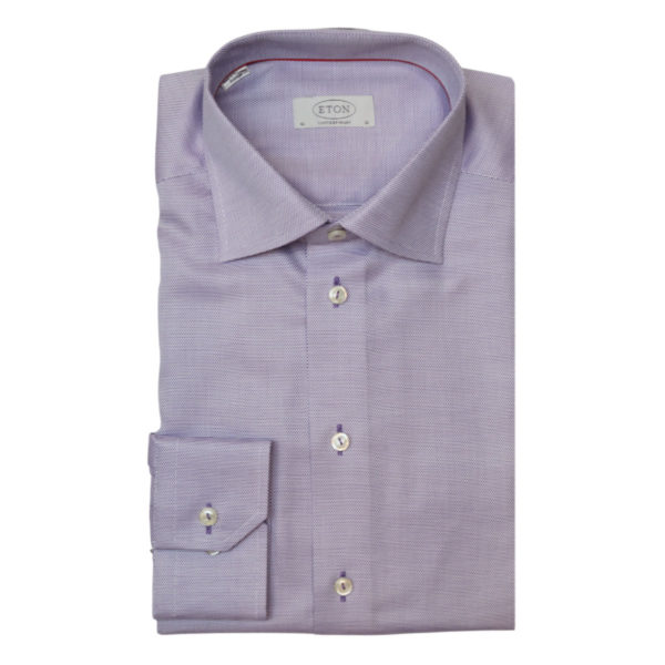 Eton shirt waffle twill purple