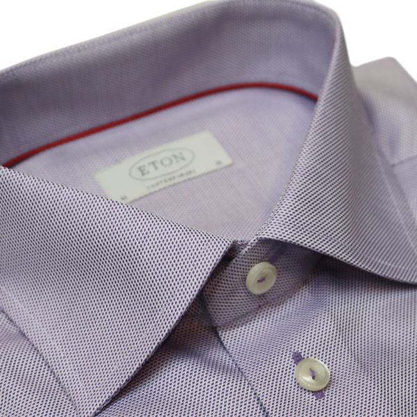 Eton shirt waffle twill purple collar