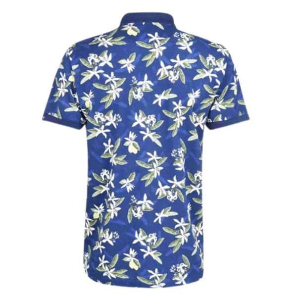 GANT Lemon Flower Print Polo Shirt in Blue Rear