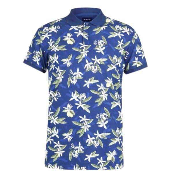 GANT Lemon Flower Print Polo Shirt in Blue front