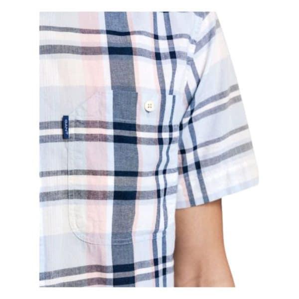 GANT Mens Regular Fit Short Sleeve Indigo Plaid Shirt arm