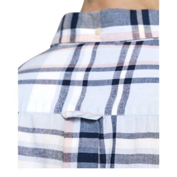 GANT Mens Regular Fit Short Sleeve Indigo Plaid Shirt collar