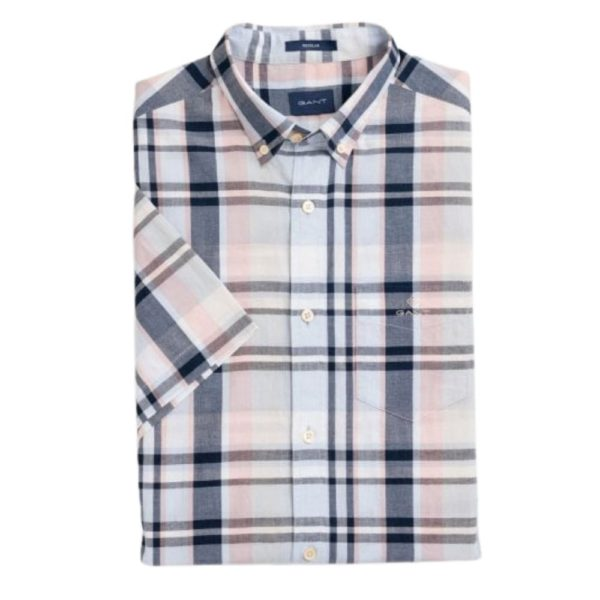GANT Mens Regular Fit Short Sleeve Indigo Plaid Shirt front