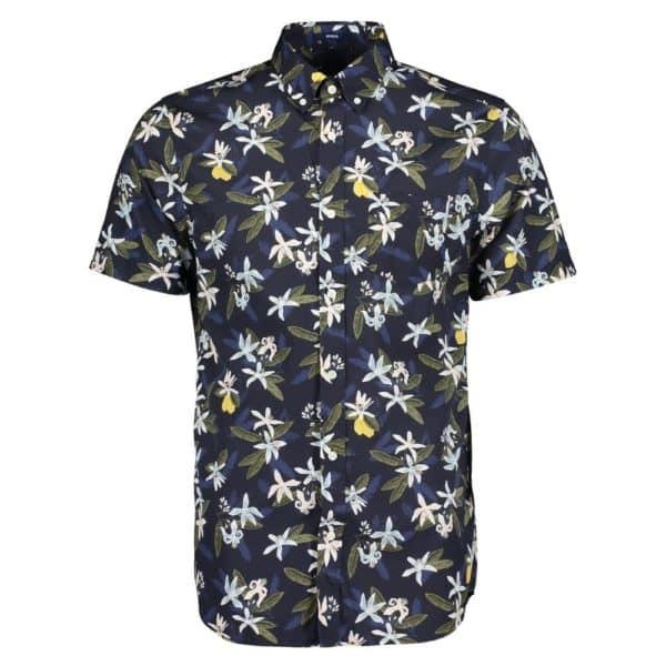 GANT Regular Fit Short Sleeve Lemon Flower Print Shirt Front