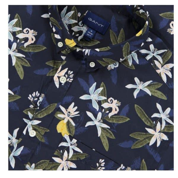 GANT Regular Fit Short Sleeve Lemon Flower Print Shirt collar