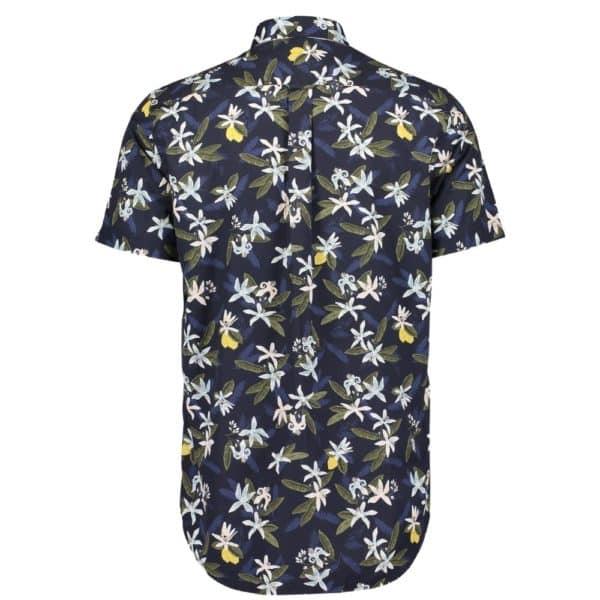 GANT Regular Fit Short Sleeve Lemon Flower Print Shirt rear