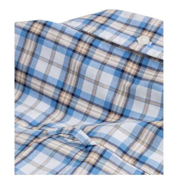 GANT Regular Fit Short Sleeve blue and Khaki check Shirt Rear