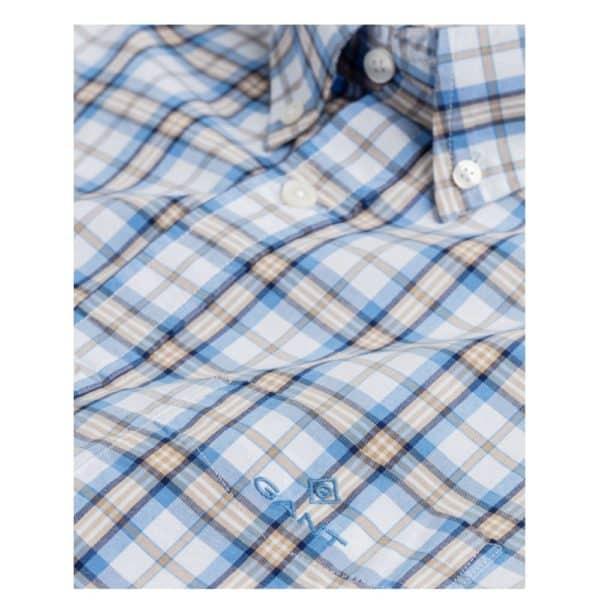 GANT Regular Fit Short Sleeve blue and Khaki check Shirt collar