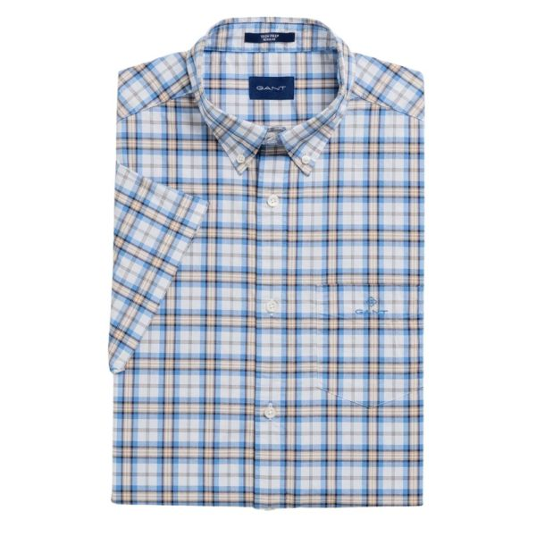 GANT Regular Fit Short Sleeve blue and Khaki check Shirt front
