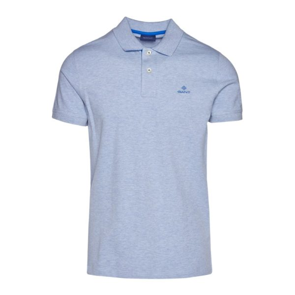 Gant Contrast Collar Pique Short Sleeve Rugger in Ice Blue Front