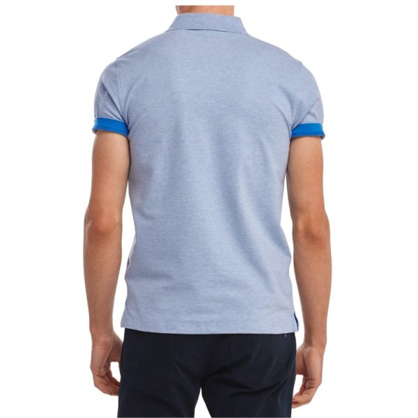 Gant Contrast Collar Pique Short Sleeve Rugger in Ice Blue Rear