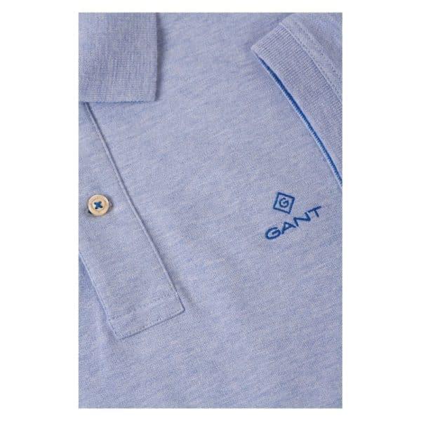 Gant Contrast Collar Pique Short Sleeve Rugger in Ice Blue collar