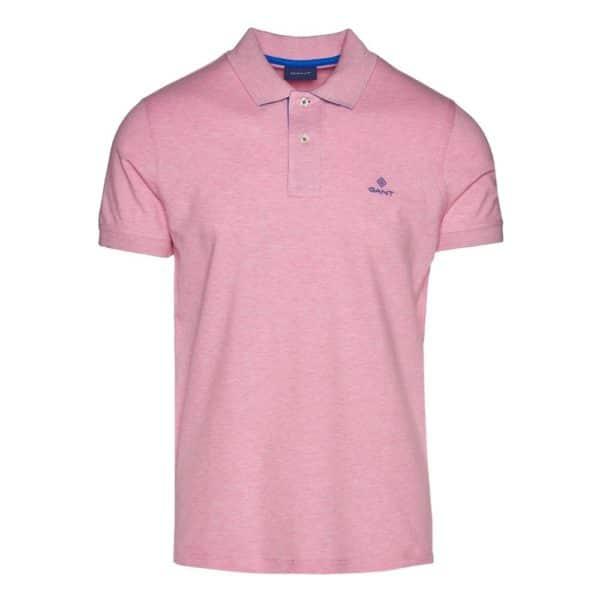 Gant Contrast Collar Pique Short Sleeve Rugger in Light pink Front
