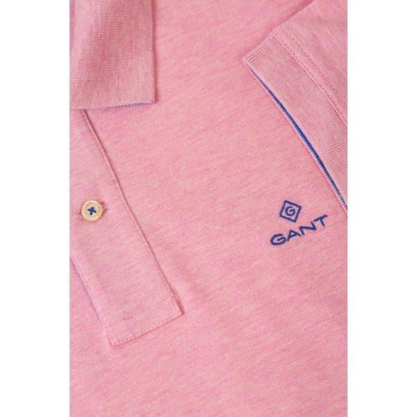 Gant Contrast Collar Pique Short Sleeve Rugger in Light pink collar