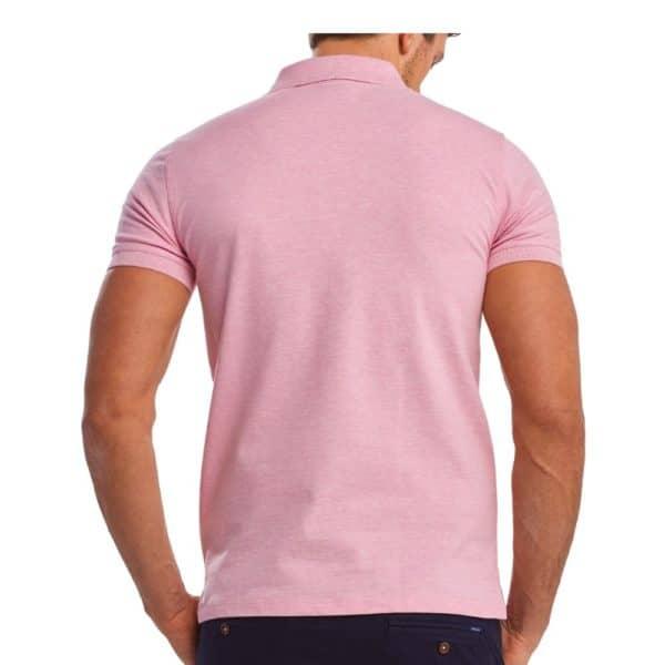 Gant Contrast Collar Pique Short Sleeve Rugger in Light pink rear