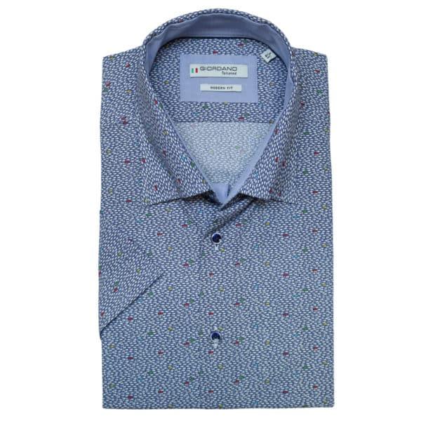 Giordano fish pattern short sleeve navy shirt