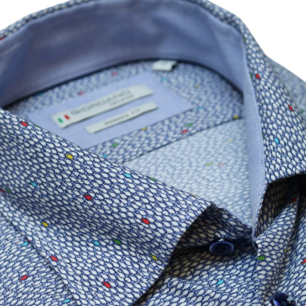 Giordano fish pattern short sleeve navy shirt collar